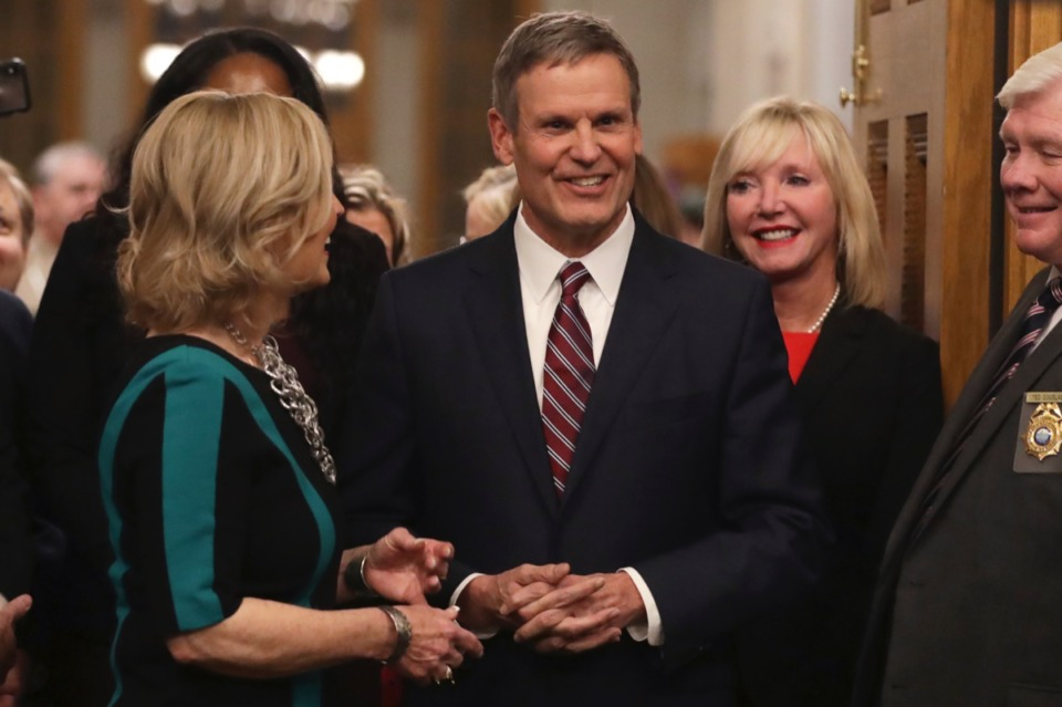 <strong>Tennessee Gov. Bill Lee, center, arrives in the House Chamber to deliver his State of the State Address, Monday, Feb. 3, 2020, in Nashville.</strong> (Mark Humphrey/AP)