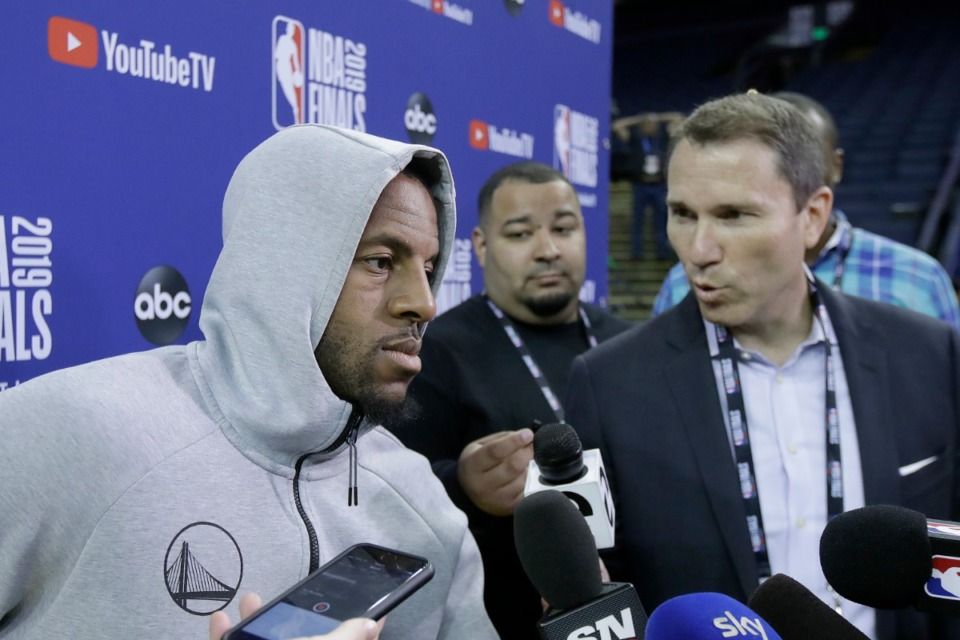 <strong>Golden State Warriors forward Andre Iguodala speaks with reporters after a team practice in Oakland, Calif., Wednesday, June 12, 2019.&nbsp;</strong>(Jeff Chiu/AP)