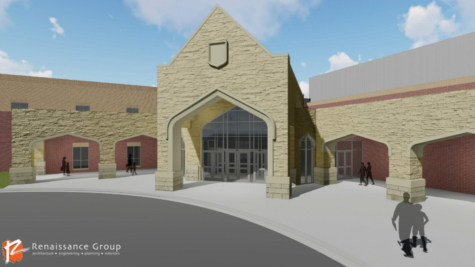 <strong>An arch design will set apart the entrance to the high school.</strong>&nbsp;(Courtesy Renaissance Group)