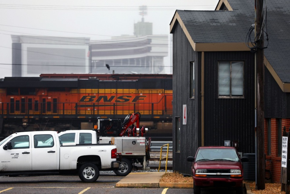 <strong>The Norfolk Southern Railroad is removing its intermodal container operations from the Harris Yard, located along Southern Avenue in the shadow of the Liberty Bowl, on Feb. 5, 2020, and moving them to another facility in Piperton with the hopes of improving the neighborhood south of the train tracks.</strong> (Patrick Lantrip/Daily Memphian)