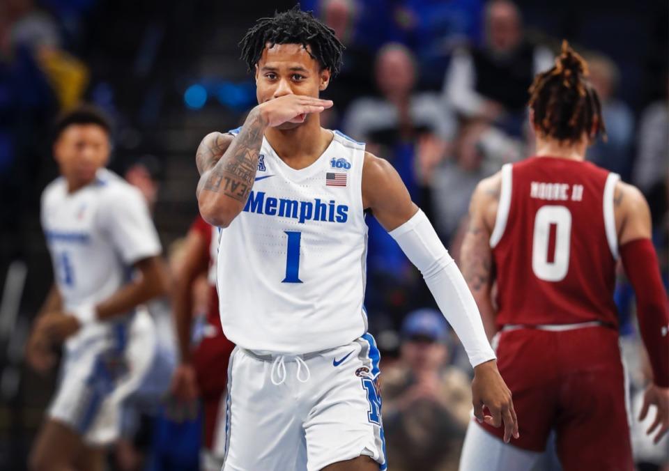 <strong>Memphis guard Tyler Harris celebrates a 3-pointer against Temple Feb. 5, 2020, at FedExForum.</strong> (Mark Weber/Daily Memphian)