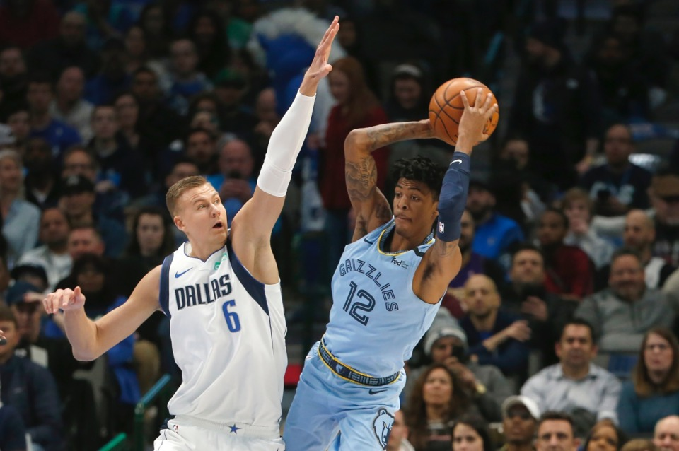 <strong>Grizzlies guard Ja Morant (12) tries to pass while guarded by Mavericks' forward Kristaps Porzingis (6) Feb. 5, 2020, in Dallas.</strong> (Ron Jenkins/AP)