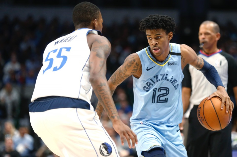 <strong>Memphis Grizzlies guard Ja Morant (12) looks for a way under, over or through Dallas Mavericks guard Delon Wright (55) Feb. 5, 2020, in Dallas.</strong> <strong>The Grizzlies won 121-107.</strong>&nbsp;(Ron Jenkins/AP)