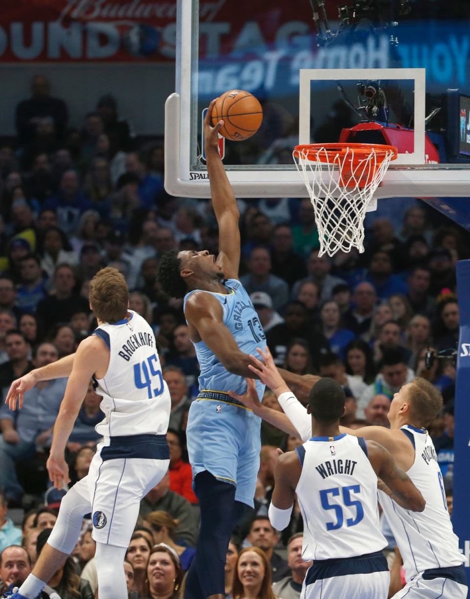 <strong>Memphis Grizzlies forward Jaren Jackson Jr. (13) dunks over Dallas' Ryan Broekhoff (45), Delon Wright (55) and Kristaps Porzingis (6) Feb. 5, 2020, in Dallas. The Grizzlies won 121-107.</strong>&nbsp;Ron Jenkins/AP)