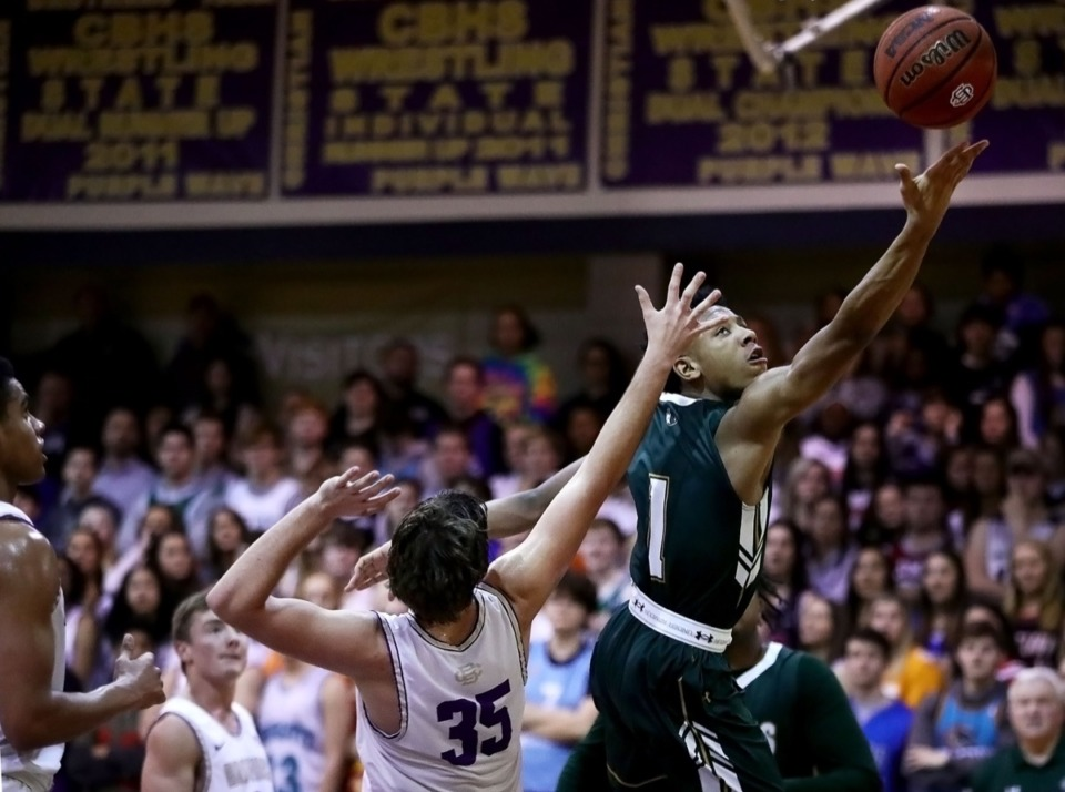 <strong>Briarcrest guard Kennedy Chandler (1) blows past a CBHS defender Feb. 7, 2020.</strong> (Patrick Lantrip/Daily Memphian)