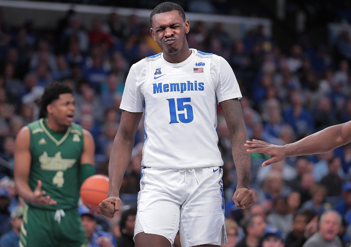 "<strong>University of Memphis forward Lance Thomas (15) reacts after getting poked in the face by the Bulls' Michael Durr (4) during the Tigers' game on Feb. 8, 2020,&nbsp;</strong><span class=""s1""><strong>against the University of South Florida at FedExForum in Memphis. </strong>(Jim Weber/Daily Memphian)</span>"