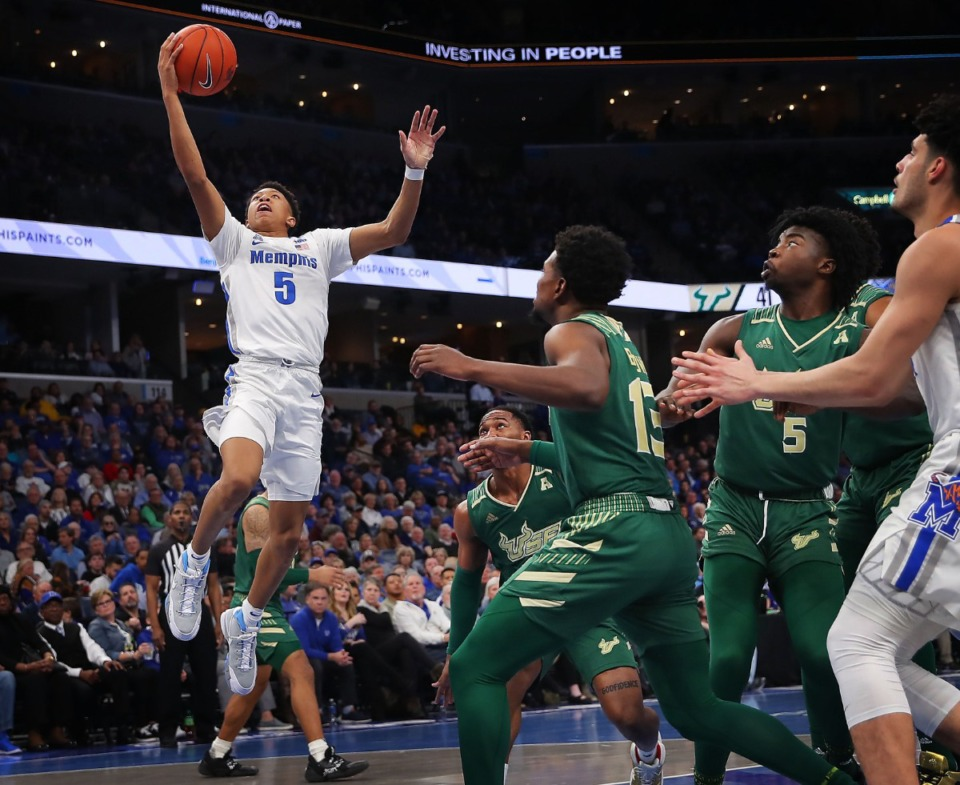 <strong>University of Memphis guard Boogie Ellis breaks away for a score during the Tigers' game on Feb. 8, 2020, against USF at FedExForum in Memphis.</strong> (Jim Weber/Daily Memphian)