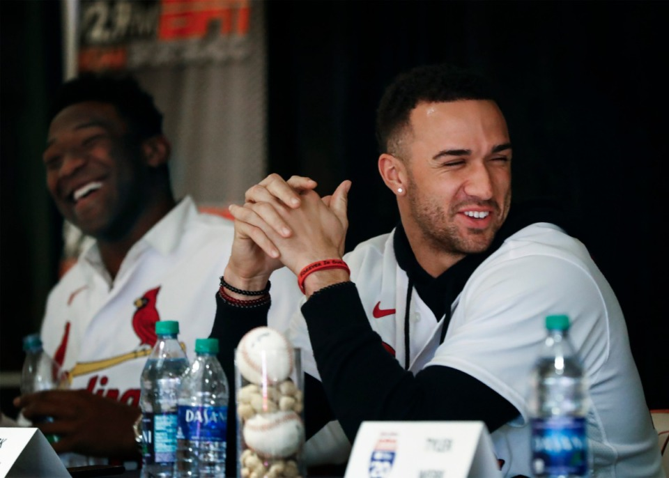 <strong>St. Louis Cardinals pitcher Jack Flaherty (right) attends the team's caravan stop on Jan. 17, at AutoZone Park. The 24-year-old righthander finished fourth in National League Cy Young voting in 2019 after posting a 2.75 earned run average over 196.1 innings with an 11-8 record. </strong>(Mark Weber/Daily Memphian)