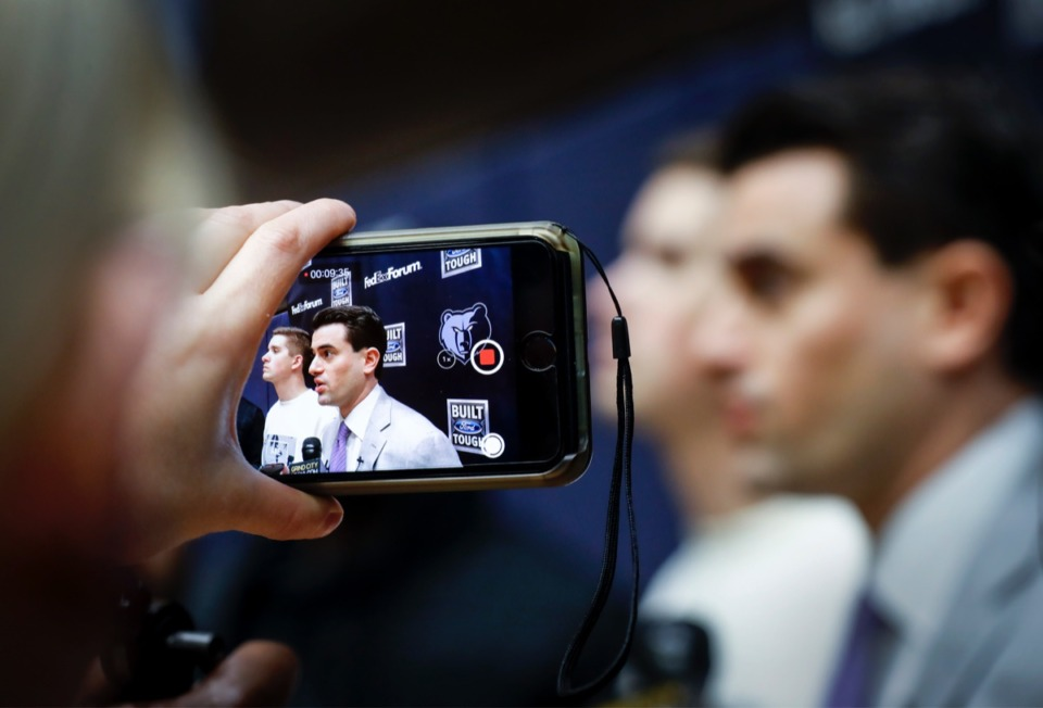 <strong>Grizzlies' Vice President of Basketball Operations Zach Kleiman, seen on a smartphone video, talks to members of the media Monday, Feb. 10, at FedExForum.</strong> (Mark Weber/Daily Memphian)