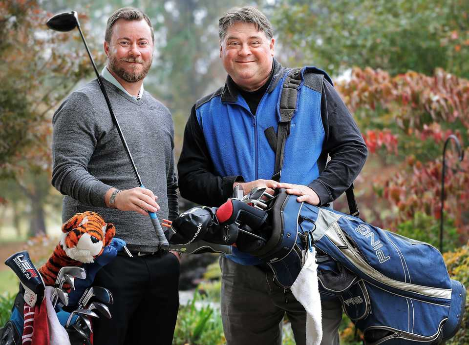 """<p class=""""p1""""><b>Memphian Scott Moore (right), who plays principal trumpet for the Memphis Symphony Orchestra, received a kidney transplant from his friend and golfing buddy, Dustin Lehmann, a combat veteran of wars in Iraq and Afghanistan. Scott surprised Dustin for Veterans Day with a video, speech and performance. </b>(Jim Weber/Daily Memphian)"""