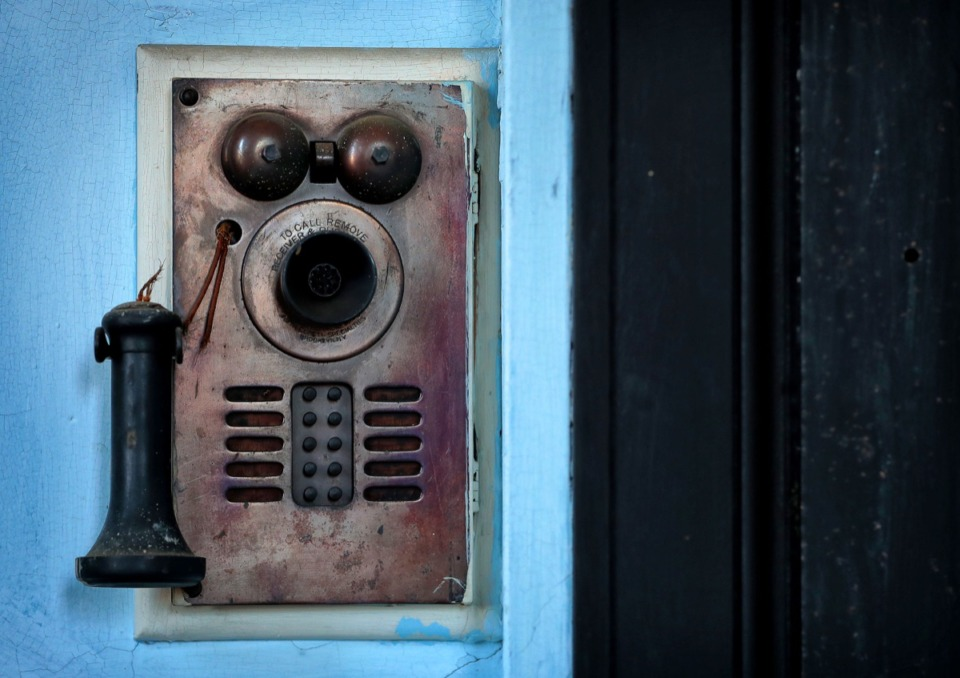 <strong>An antique intercom system connects many of the rooms in the 106-year-old Masonic Lodge on Court Avenue.</strong> (Jim Weber/Daily Memphian)