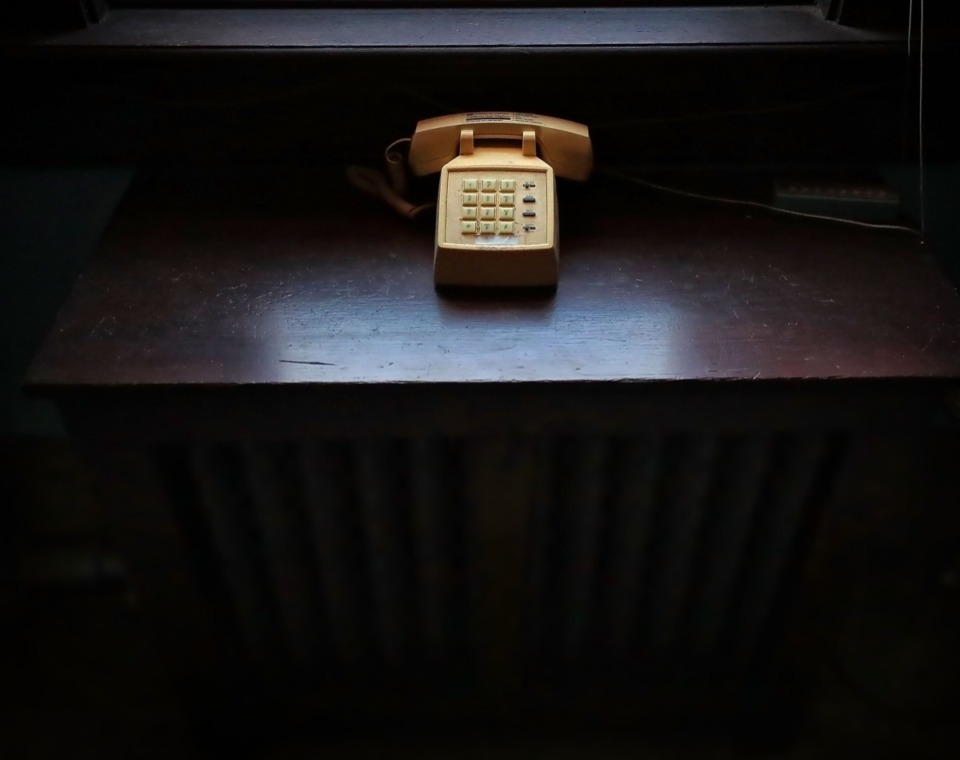 <strong>Strange artifacts from a bygone time, like this old push-button phone, still remain in the Masonic Lodge on Court Avenue.</strong> (Jim Weber/Daily Memphian)