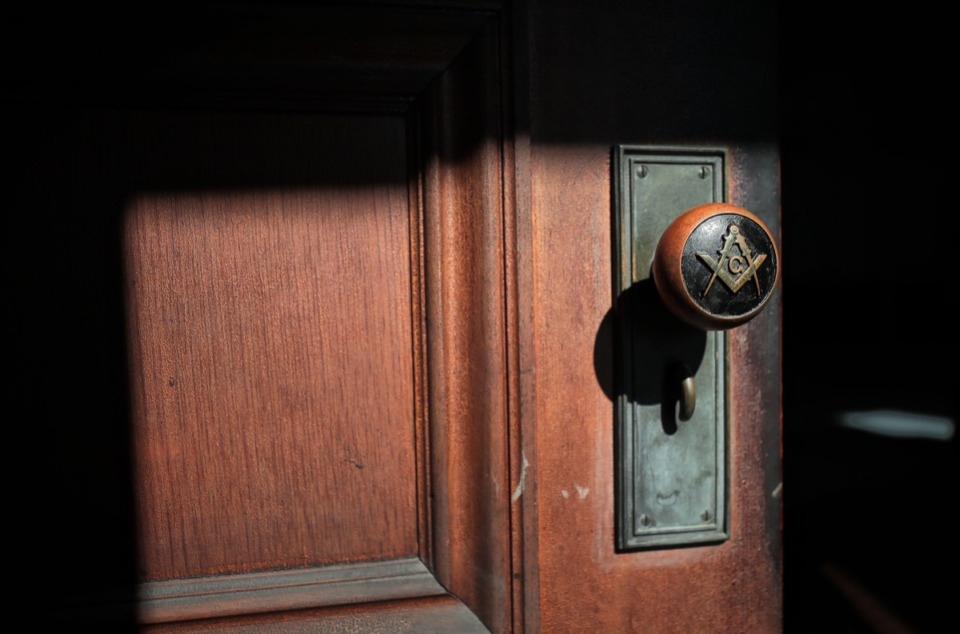 <strong>The square and compasses, the artchitect's tools that are the symbol of Freemasonry,&nbsp;appear everywhere at the Masonic Lodge on Court -- even on doorknobs.&nbsp;</strong>(Jim Weber/Daily Memphian)