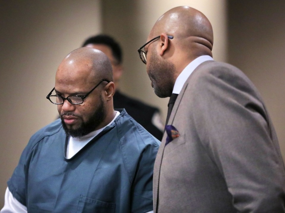 <strong>Defendant Billy Ray Turner (left) talks with his attorney John Keith Perry (right) during an appearance in Judge Lee Coffee's courtroom Feb. 11, 2020.</strong>(Patrick Lantrip/Daily Memphian)