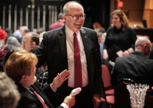 <strong>Bartlett Mayor Keith McDonald talks with Bartlett Performing Arts Center Director Michael Bollinger (left) before giving an update on the city and his plans for 2020 during the Bartlett Area Chamber luncheon held at BPACC on Feb.11, 2020.</strong> (Jim Weber/Daily Memphian)