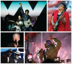 <strong>Clockwise from top left: Weezer, Brittany Howard, DaBaby, Keb Mo and Taj Mahal, and Lindsey Buckingham.</strong> (AP Photos)