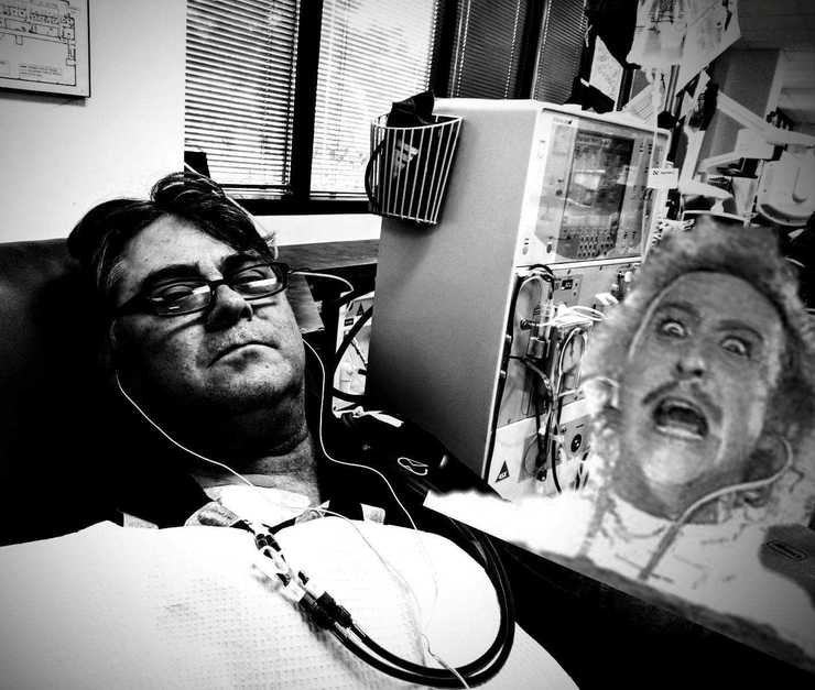 """<p class=""""p1""""><b>A selection of Moore&rsquo;s photoshop skills that kept him entertained through kidney dialysis treatments. </b>(Scott Moore)"""