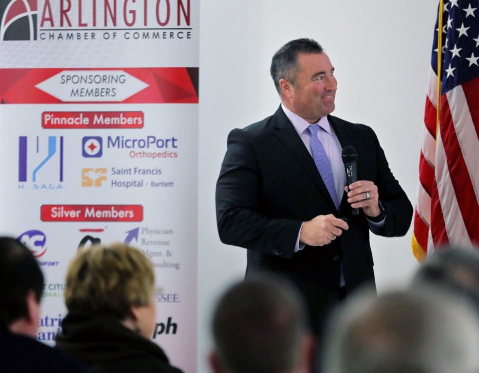 <strong>Mayor Mike Wissman speaks to a crowd of Arlington stakeholders and business leaders during a State of the Town address held at Arlington Church of Christ Family Center Feb. 12, 2020.</strong> (Patrick Lantrip/Daily Memphian)