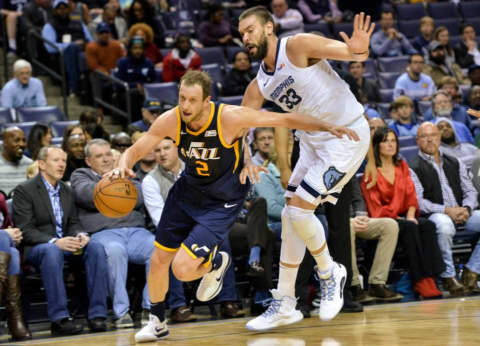 """<div class=""""row collapse""""></div><div><article ng-bind-html=""""results.Items[0]._source.caption.nitf"""" class=""""ng-binding""""><strong>Utah Jazz forward Joe Ingles (2) controls the ball against Memphis Grizzlies center Marc Gasol (33) in the first half of an NBA basketball game Monday, Nov. 12, at FedExForum.</strong> (AP Photo/Brandon Dill)</article></div>"""