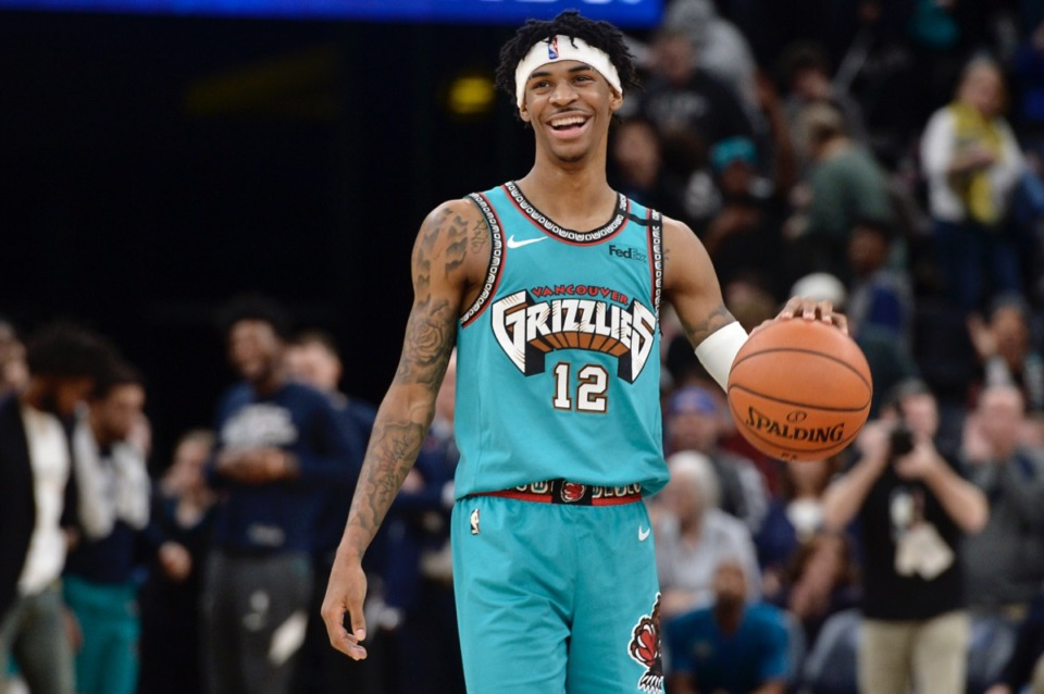 <strong>Memphis Grizzlies guard Ja Morant (12) waits for time to expire in the second half of the game against the Portland Trail Blazers Wednesday, Feb. 12, 2020, at FedExForum.</strong> (Brandon Dill/AP