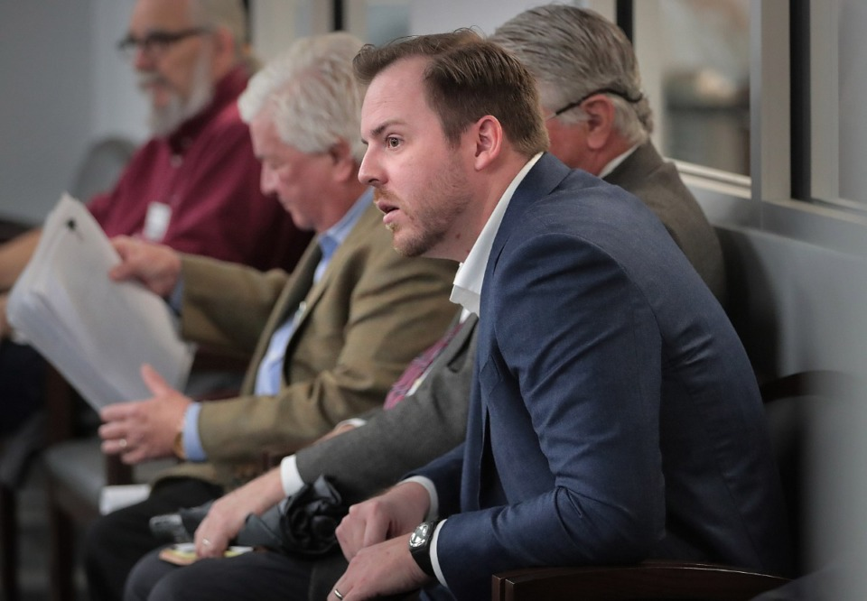 <strong>Memphis developer Spencer Shadrach listens as his plans to develop a 19-lot, gated subdivision in East Memphis off Princeton is added to the consent agenda during a Land Use Control Board meeting at City Hall on Feb. 13, 2020.</strong> (Jim Weber/Daily Memphian)