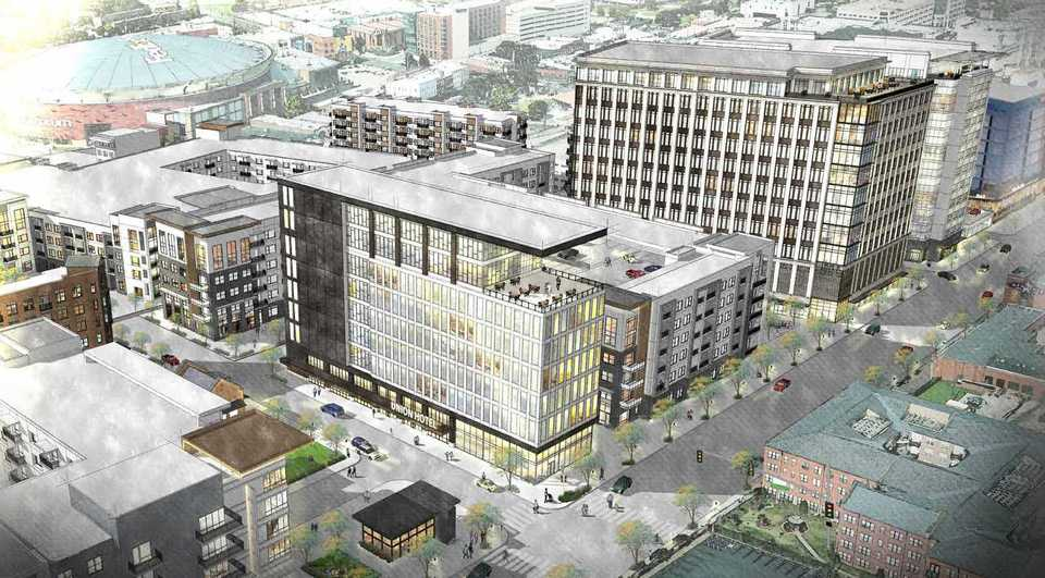 <strong>The proposed $950 million Union Row mixed-use development would span nearly 30 acres. Two high-rise office buildings and a 200-room boutique hotel are among the amenities planned for Phase 1.&nbsp;</strong>(Rendering courtesy of LRK)