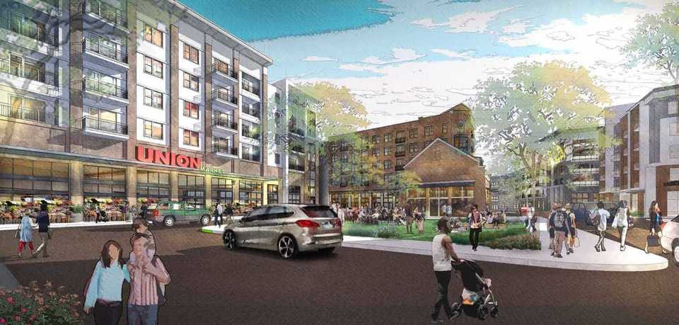 <strong>Residential/retail mixed-use buildings, including one with a 30,000-square-foot market, are part of developer Kevin Adams' plan for Phase 1 of Union Row.&nbsp;</strong>(Rendering courtesy of LRK)