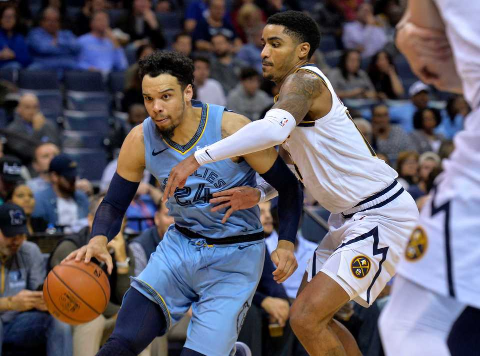 <span><strong>Memphis Grizzlies guard Dillon Brooks (24) drives against Denver Nuggets guard Gary Harris during a game on Nov. 7 in Memphis.</strong> (AP Photo/Brandon Dill)</span>