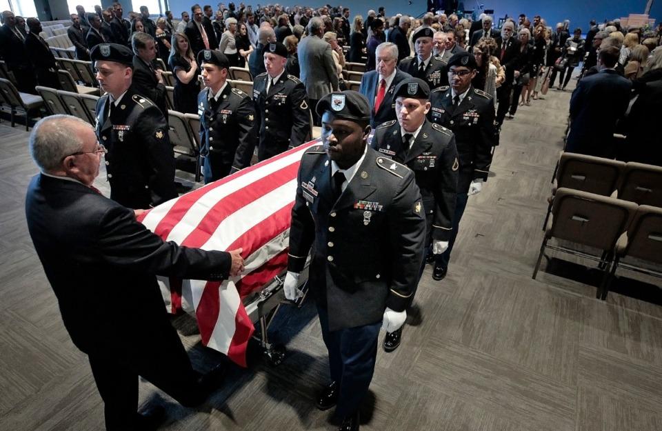 <strong>An honor guard escorts the casket of Major Trevor Joseph after a memorial service at Harvest Church on Oct. 8, 2019.</strong>&nbsp;(Jim Weber/Daily Memphian file)