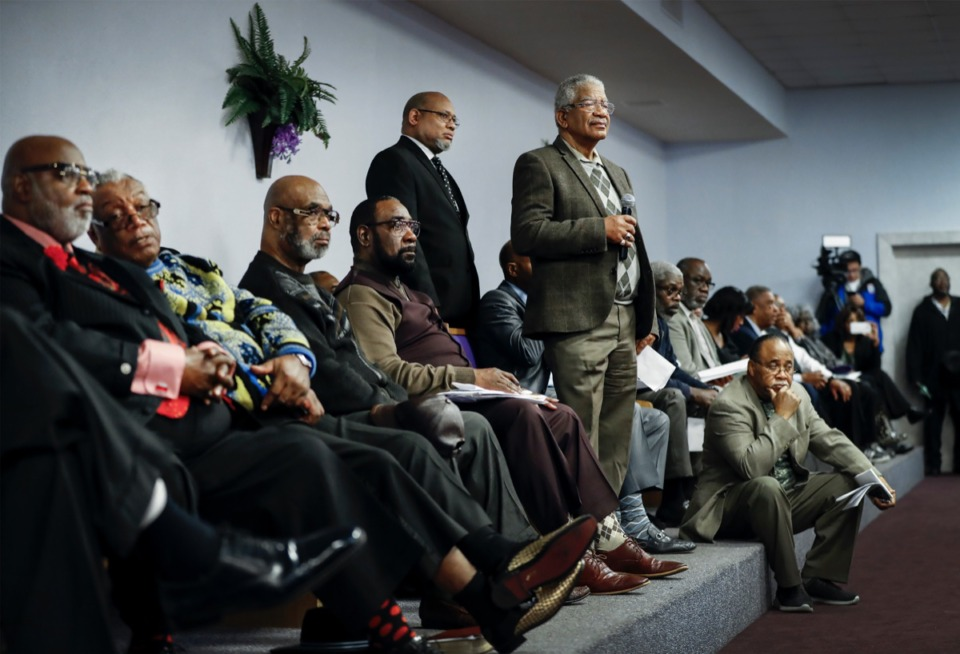 <strong>Local ministers attend a Southern Christian Leadership Conference forum with law enforcement on gun violence Tuesday, Feb. 18, 2020, at Memphis Baptist Ministerial Association.</strong> (Mark Weber/Daily Memphian)