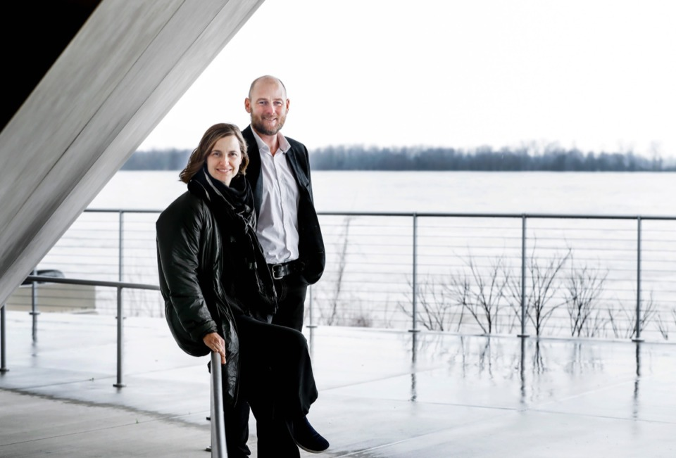 <strong>Tom Lee Park's key designers, Kate Orff of Scape and William Emmick of Studio Gang, visit Beale Street Landing on Tuesday, Feb. 18, 2020. The pair are in town this week to meet with stakeholders about the park's redesign.</strong> (Mark Weber/Daily Memphian)