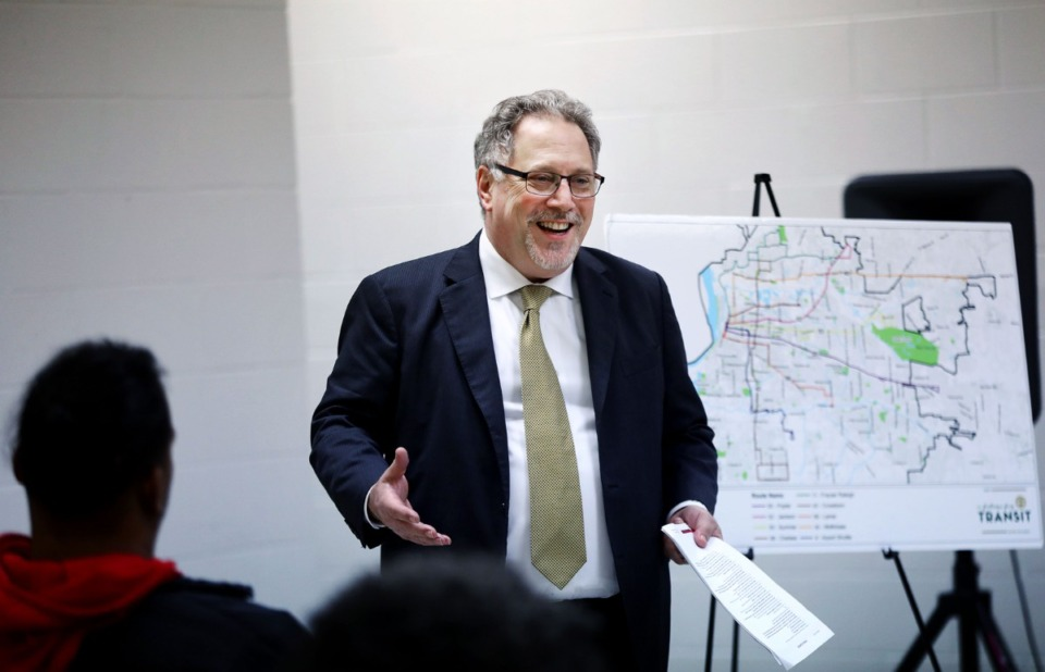 <strong>MATA CEO Gary Rosenfeld speaks at a Shelby County Commission ad hoc committee meeting on public transportation held at the Hollywood Community Center Feb. 19, 2020.</strong> (Patrick Lantrip/Daily Memphian)