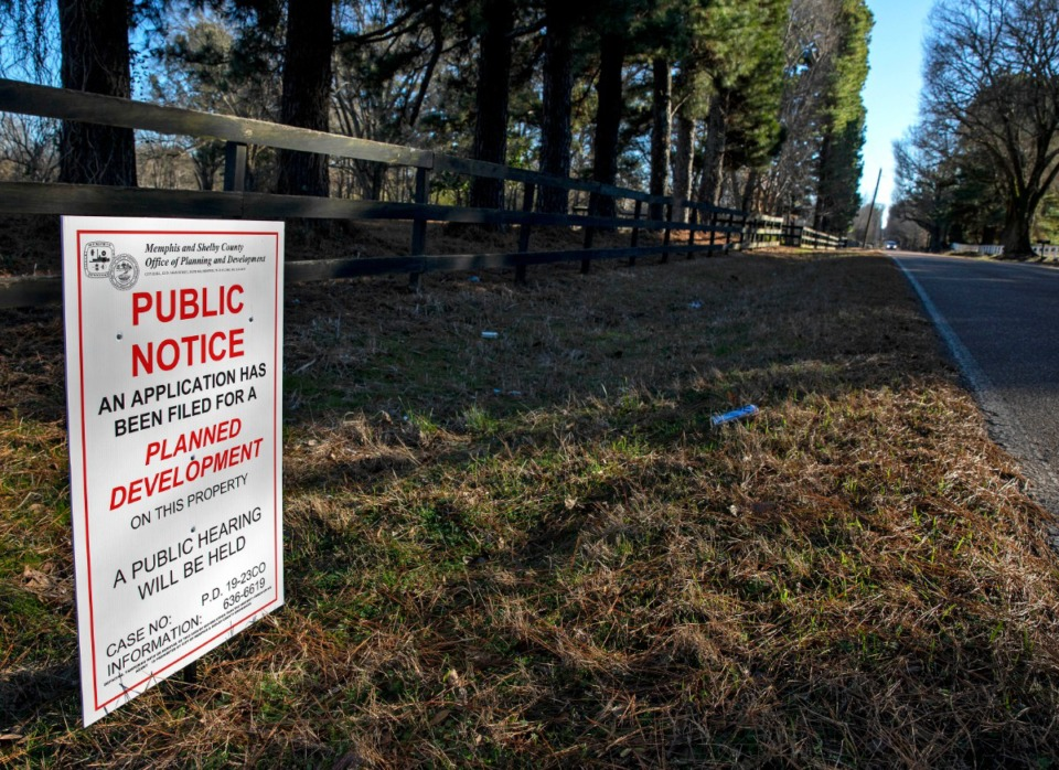 """<strong>A Memphis and Shelby County Office of Planning and Development sign seen along Quinn Road Jan. 5, 2020, provided notice for Quinn Ridge, a """"planned development"""" south of East Shelby Drive.</strong> (Mike Kerr/Daily Memphian&nbsp; file)"""