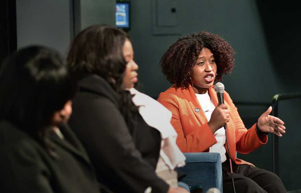 <strong>Freedom Preparatory founder and CEO Roblin Webb speaks during a panel discussion on the role of charter schools in Memphis Tuesday at the National Civil Rights Museum. Joining Webb on the panel were LaTricea Adams, Sharon Griffin and Stephanie Love.</strong> (Stan Carroll/Special To The Daily Memphian)