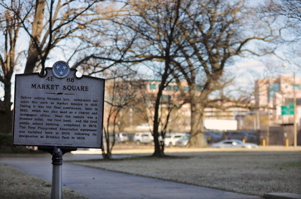 <strong>The history of Market Square, seen on Feb. 21, 2020, goes back to the earliest days of the city. Now the site is being explored for a possible new hotel tower.</strong> (Patrick Lantrip/Daily Memphian)