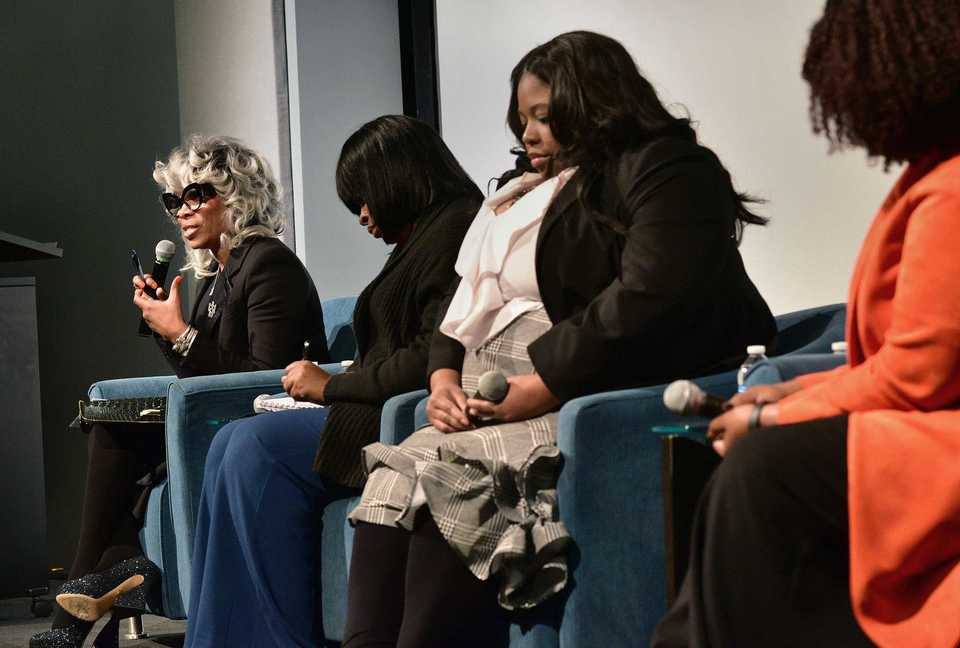 <strong>Sharon Griffin (left) responds during a panel discussion on the role of charter schools in Memphis Tuesday at the National Civil Rights Museum. Other panelists included (from left) Stephanie Love, Latricea Adams and Roblin Webb.</strong> (Stan Carroll/Special To The Daily Memphian)
