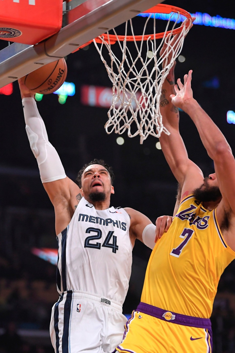 <strong>Memphis Grizzlies guard Dillon Brooks, left, shoots as Los Angeles Lakers center JaVale McGee defends Feb. 21, 2020, in Los Angeles.</strong> (Mark J. Terrill/AP)