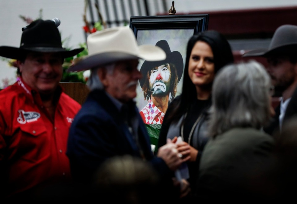 <strong>Family, friends and fans attend A Celebration of Life service for former rodeo clown Lecile Harris on Sunday, Feb. 23, 2020 at Collierville High School.</strong> (Mark Weber/Daily Memphian)