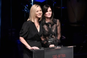 <strong>Lisa Kudrow, left, and Courteney Cox onstage at SAG-AFTRA Foundation's 2019 Patron of the Artists Awards at the Wallis Annenberg Center for the Performing Arts on Thursday, Nov. 7, 2019, in Beverly Hills, Calif.</strong> (Photo by Richard Shotwell/Invision/AP)