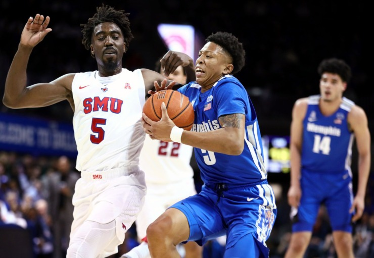 University of Memphis guard Boogie Ellis goes in for a lay up during a road game against the Southern Methodist University Mustangs in Dallas Feb. 25, 2020. (Patrick Lantrip/Daily Memphian)