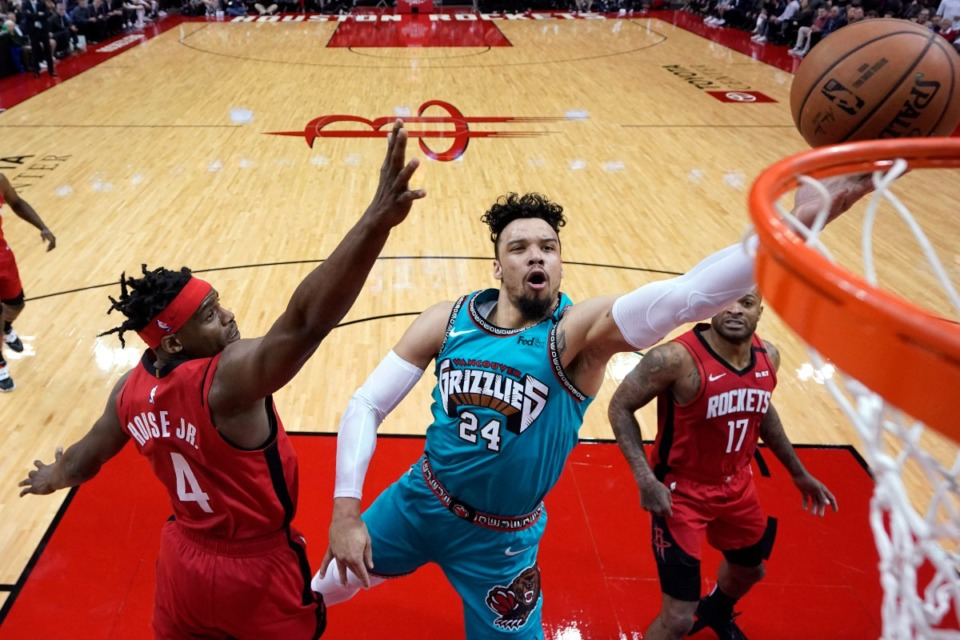 <strong>Memphis Grizzlies' Dillon Brooks (24) goes up for a shot as Houston Rockets' Danuel House Jr. (4) defends during the first half of an NBA basketball game Wednesday, Feb. 26, 2020, in Houston.</strong> (AP Photo/David J. Phillip)