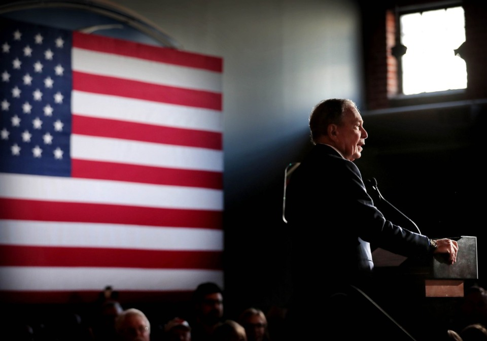 <strong>Democratic presidential contender Michael Bloomberg delivers his stump speech during a campaign stop at Minglewood Hall in Memphis on Feb. 28, 2020.</strong> (Jim Weber/Daily Memphian)