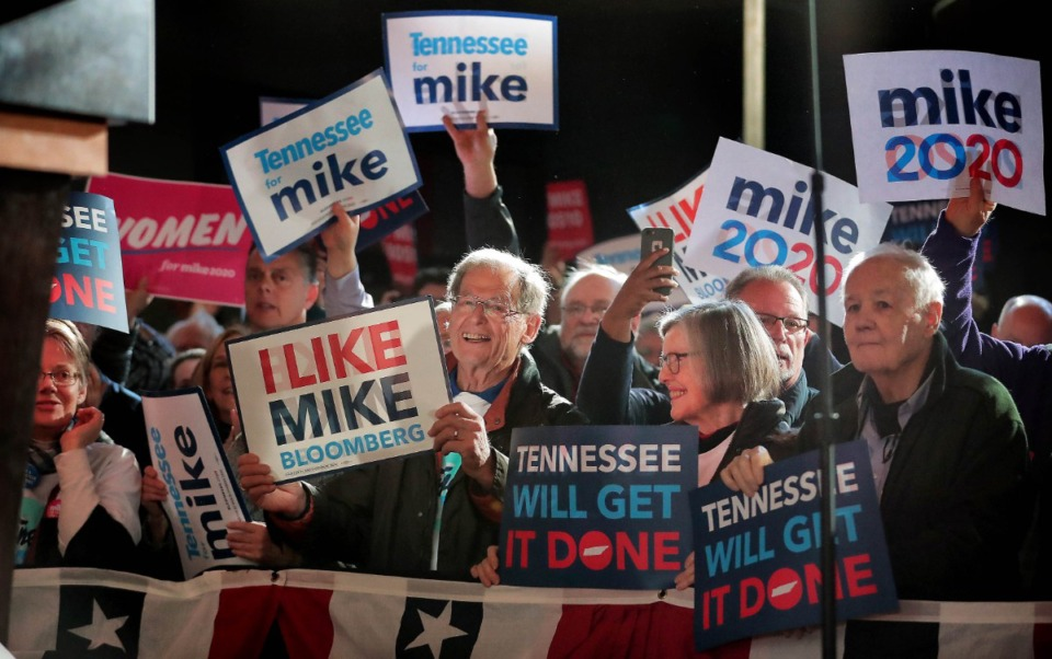 <strong>Bloomberg fans gather at Minglewood Hall as Democratic presidential contender Michael Bloomberg delivers his stump speech during a campaign stop in Memphis on Feb. 28, 2020.</strong> (Jim Weber/Daily Memphian)