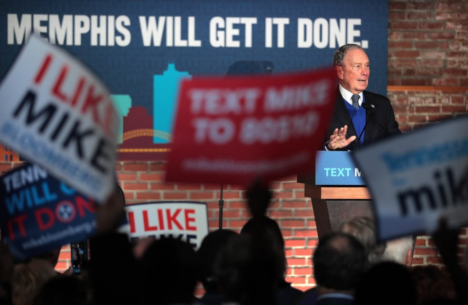 <strong>A crowd of about 200 gathered at Minglewood Hall to hear Democratic presidential contender Michael Bloomberg deliver his stump speech during a campaign stop in Memphis on Feb. 28, 2020.</strong> (Jim Weber/Daily Memphian)