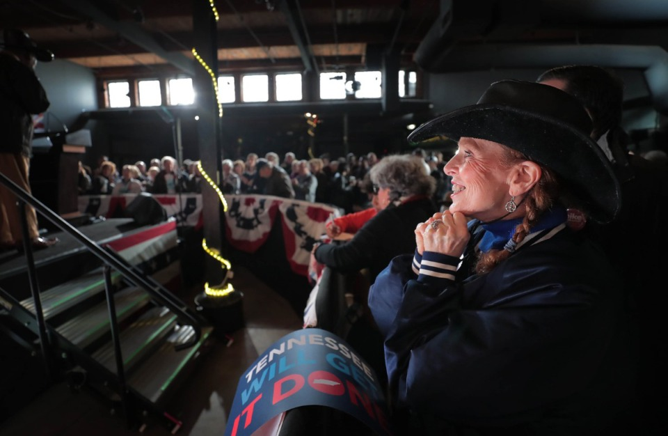 <strong>Rita Deyo joins a crowd of Bloomberg supporters at Minglewood Hall as they wait for Democratic presidential contender Michael Bloomberg to deliver his stump speech during a campaign stop in Memphis on Feb. 28, 2020.</strong> (Jim Weber/Daily Memphian)