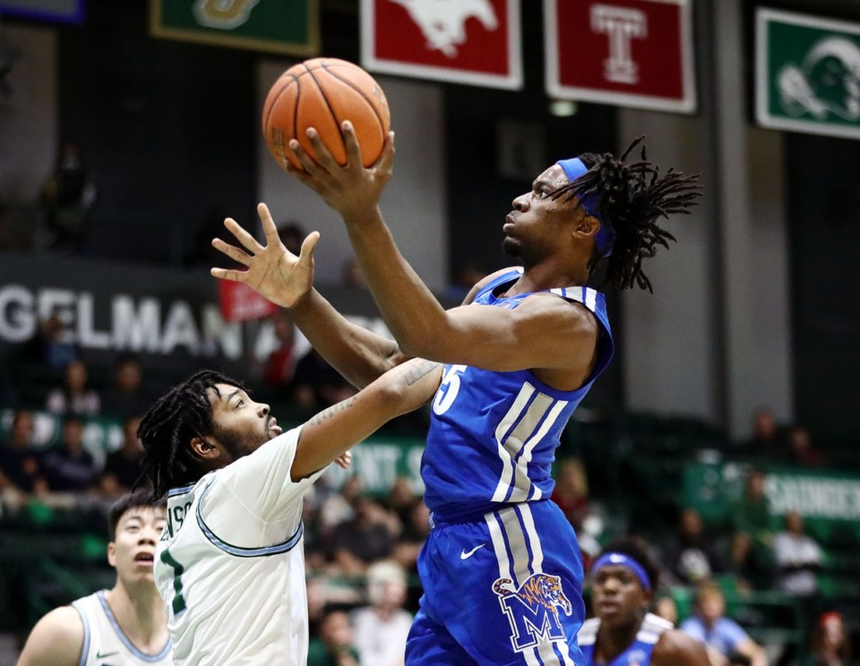 <strong>University of Memphis forward Precious Achiuwa (55) goes in for a layup during a road game against the Tulane University Green Wave in New Orleans on Feb. 29, 2020.</strong> (Patrick Lantrip/Daily Memphian)