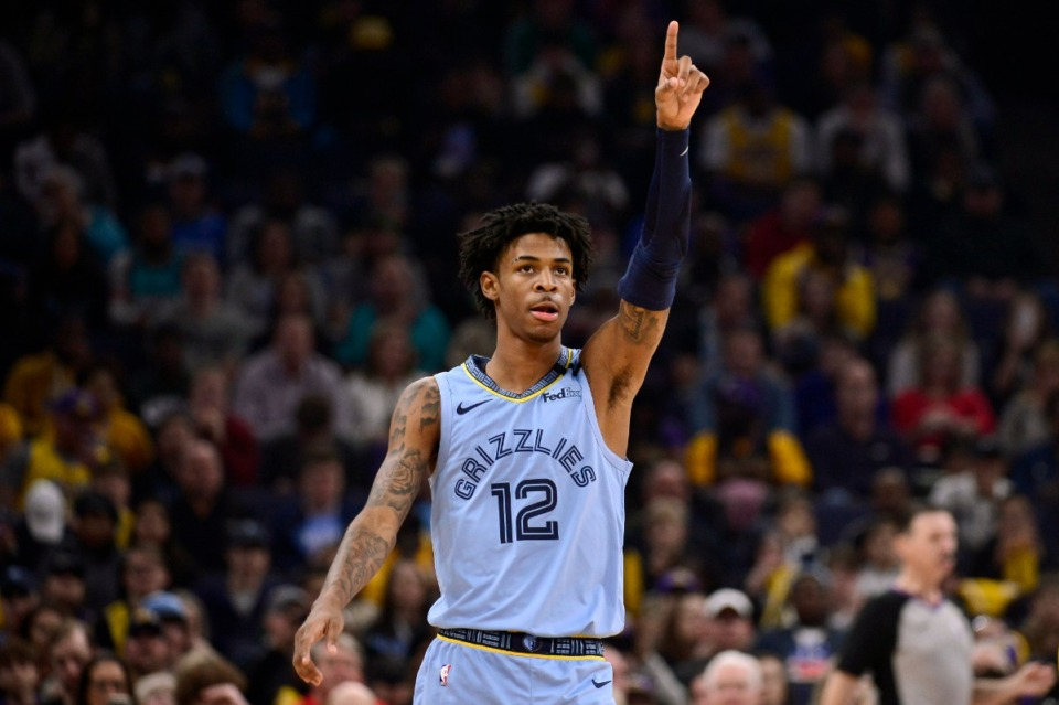 <strong>Memphis Grizzlies guard Ja Morant (12) gestures in the first half of an NBA basketball game against the Los Angeles Lakers, Saturday, Feb. 29, 2020, in Memphis.</strong> (AP Photo/Brandon Dill)