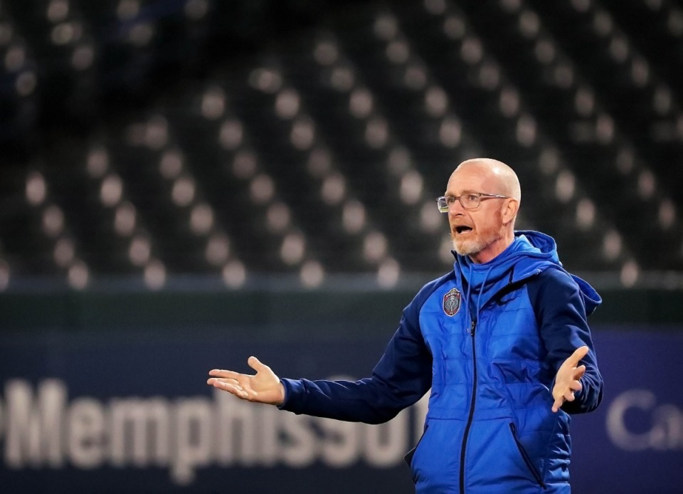 <strong>Memphis 901 FC coach Tim Mulqueen reacts to a play on the field during 901FC's preseason exhibition game against the University of Memphis at AutoZone Park on Feb. 29, 2020.</strong> (Jim Weber/Daily Memphian)