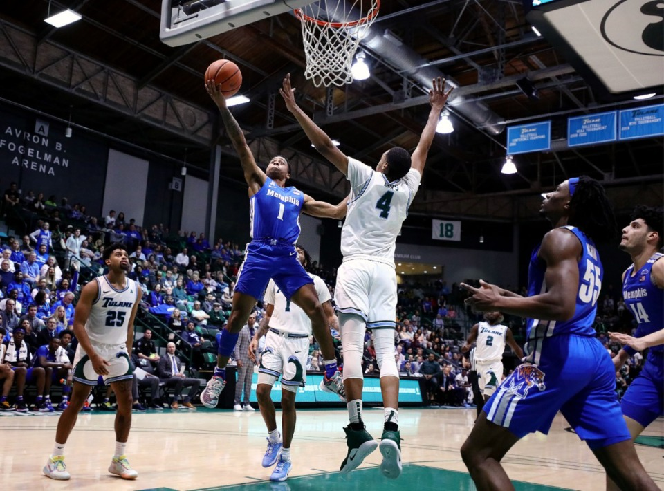 <strong>University of Memphis guard Tyler Harris (1) goes up for a layup during a road game against the Tulane University Green Wave in New Orleans Feb. 29, 2020.</strong> (Patrick Lantrip/Daily Memphian)