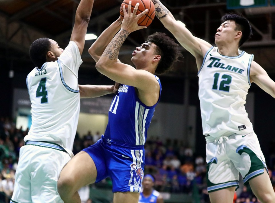 <strong>University of Memphis' Lester Quinones (11) goes to the rim during a road game against the Tulane University Green Wave in New Orleans Feb. 29, 2020.</strong> (Patrick Lantrip/Daily Memphian)